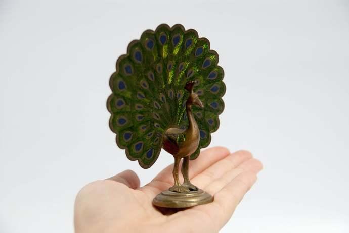 Vintage brass peacock, vintage bird figurine, brass figurine, made in India,