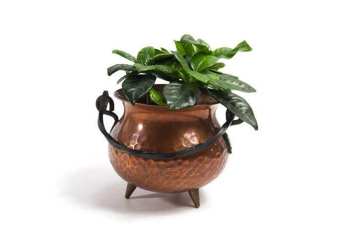 Copper cauldron, halloween decor, copper planter, copper flower pot, copper
