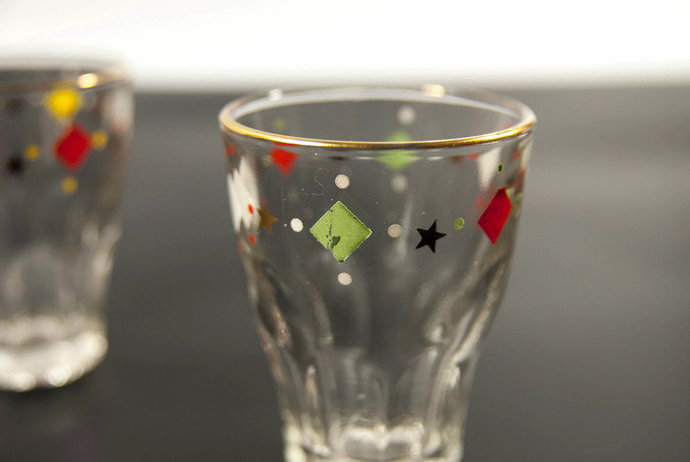 1.7 oz Shot glasses set, vodka glasses from 1960's, made in Europe, colored