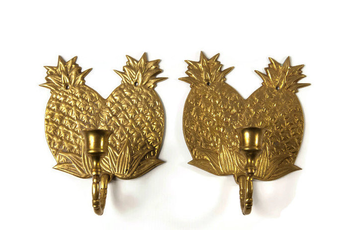 Brass pineapple wall sconce set, palm beach style decor, made in India, candle