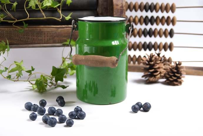 Small rustic milk can, metal milk can, enamel container, rustic flower vase,