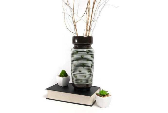 Mid century modern ceramic flower vase, glazed vase, dark chocolate brown, tall