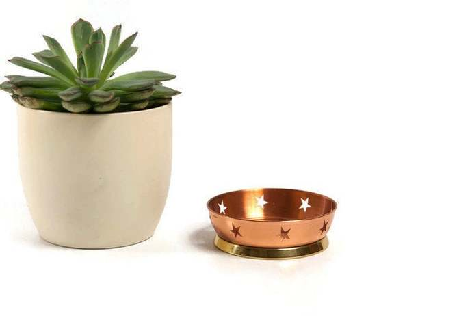 Copper tealight holder, copper candle lantern, copper candle holder, copper home