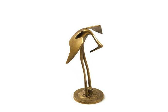 Small Brass Crane, Brass Bird Figurine, Brass Bird Statue, Symbol Of Love, Brass