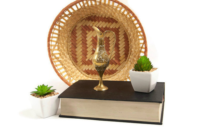 Boho brass home decor, Indian brass vase, miniature metal flower vase, ornate