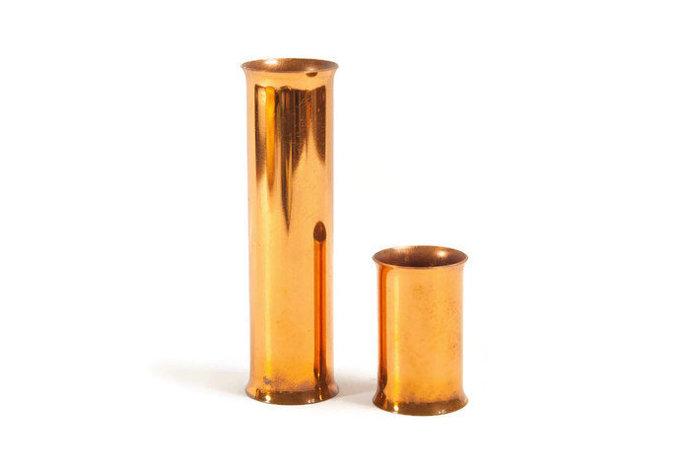 COPPER FLOWER VASES set,  Cylindric Vases, Danish Design Vase, Minimal Copper