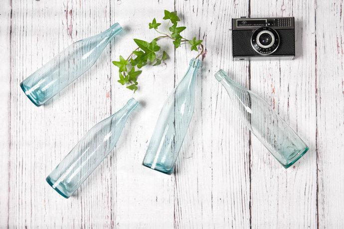 Blue bottles set of 4, perfect as a flower vases, vintage bottles, clear glass
