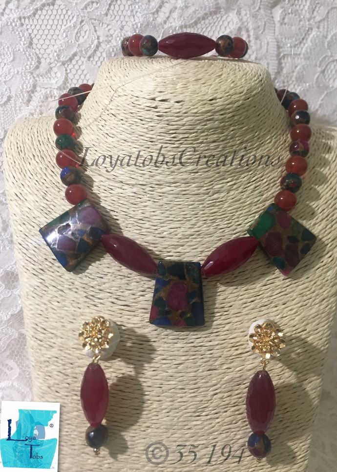 Red Agate and Gold Multi Coloured Stone 3piece set.