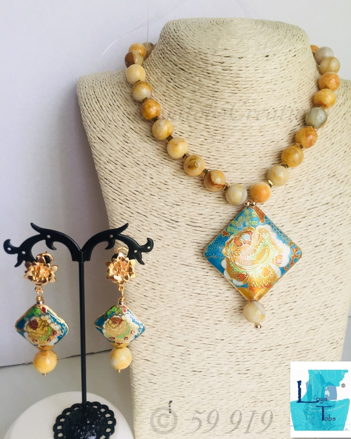Yellow Crazy Lace Agate Necklace and Earring Set