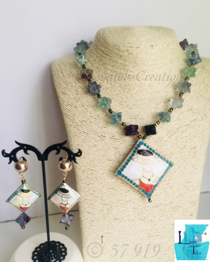 My Fair Lady Necklace and Earring set in Carved Cube Natural Fluorite