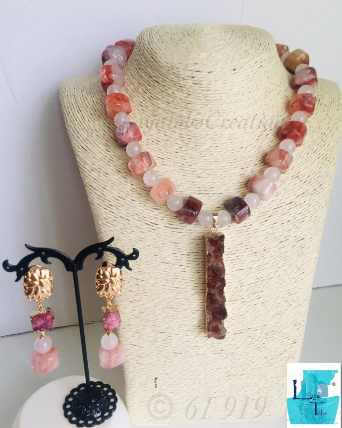 Triangle Pink Quartz and Pink Druzy Necklace Earring Set
