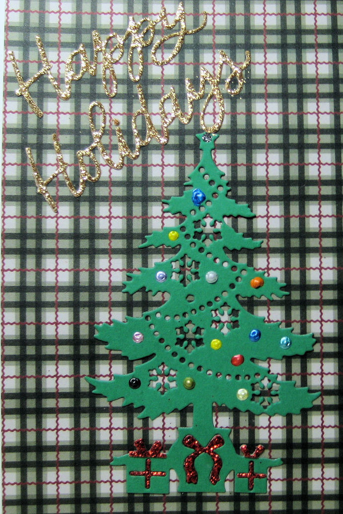 Happy Holidays Word and Christmas Tree Cutting Die Set
