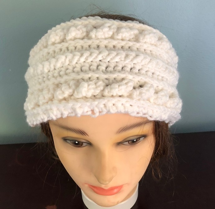 White Aran Isles Crochet Ear Warmer/Headband,Celtic Crochet Warm Winter