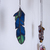 """""""Transformation,"""" Stained Glass Meditation Feather with Malachite"""