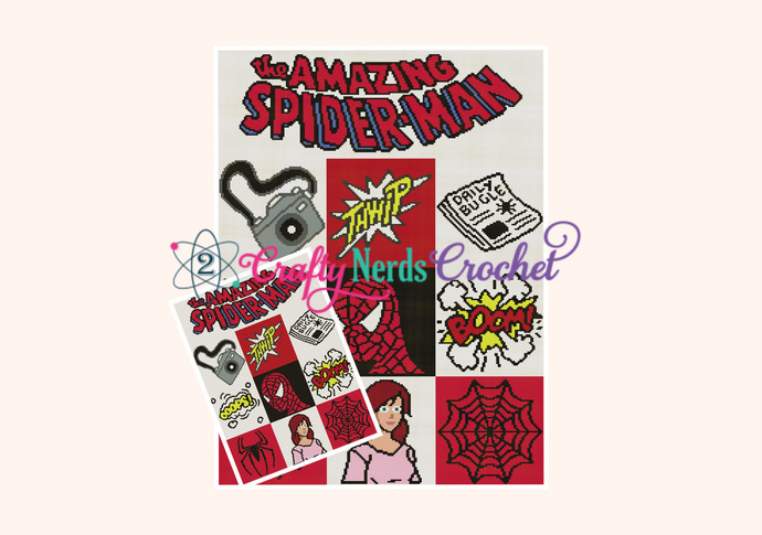 Spiderman Bundle Pattern Graph With SC C2C Written