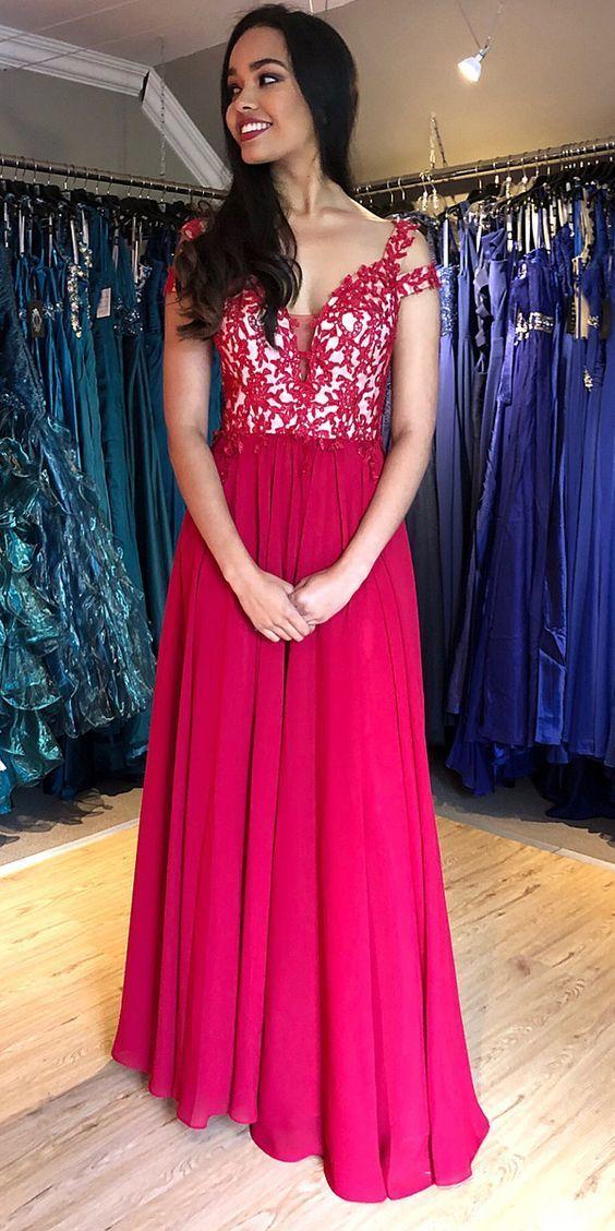 Red Chiffon Lace Top Long Prom Dress,Bridesmaid Dress  ML941