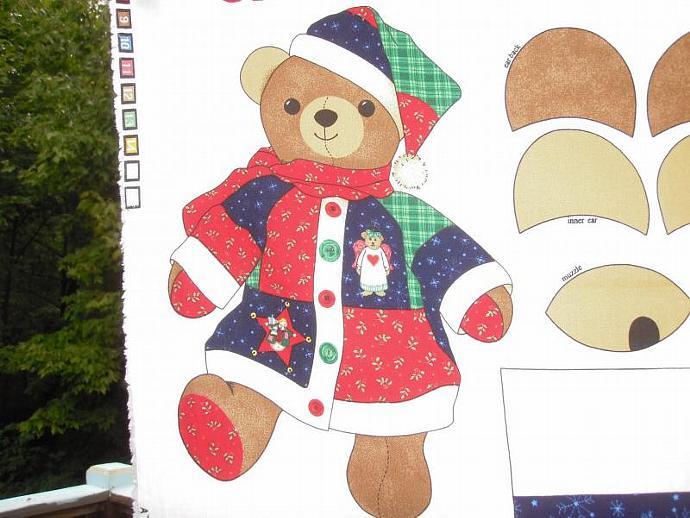 Christmas Teddy Bear Fabric Panel- makes 1 bear