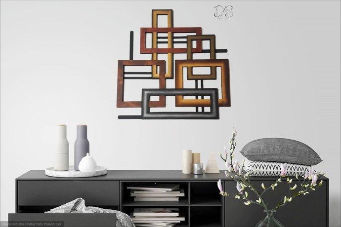 Brown Wall Sculpture, Metal wall art, Wood wall decor, square wall art, faux
