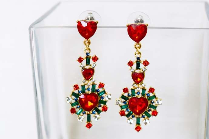 antique vintage gold earrings antique diamond earrings Red diamond earrings red