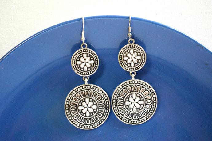 handmade silver earrings silver filigree earrings ethnic style earrings Tribal
