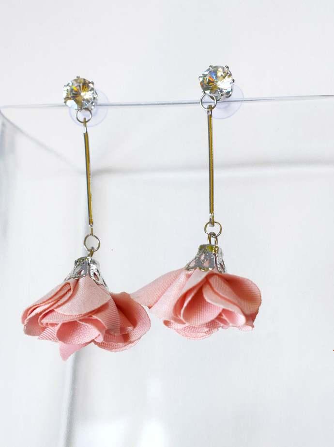 Rose Earrings, Hanging Earrings, Cloth Earrings Rose Fabric Summer Earrings,