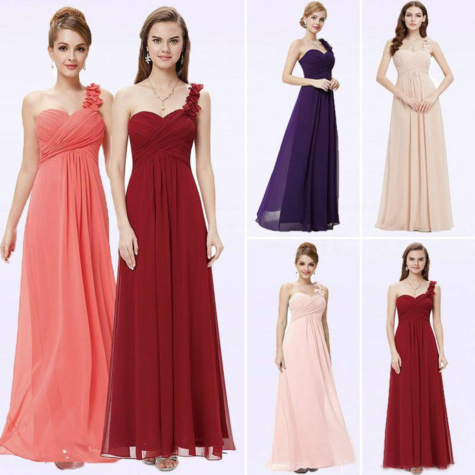 A Line Elegant Floor Length Women Bridesmaid Dresses Long Chiffon One Shoulder