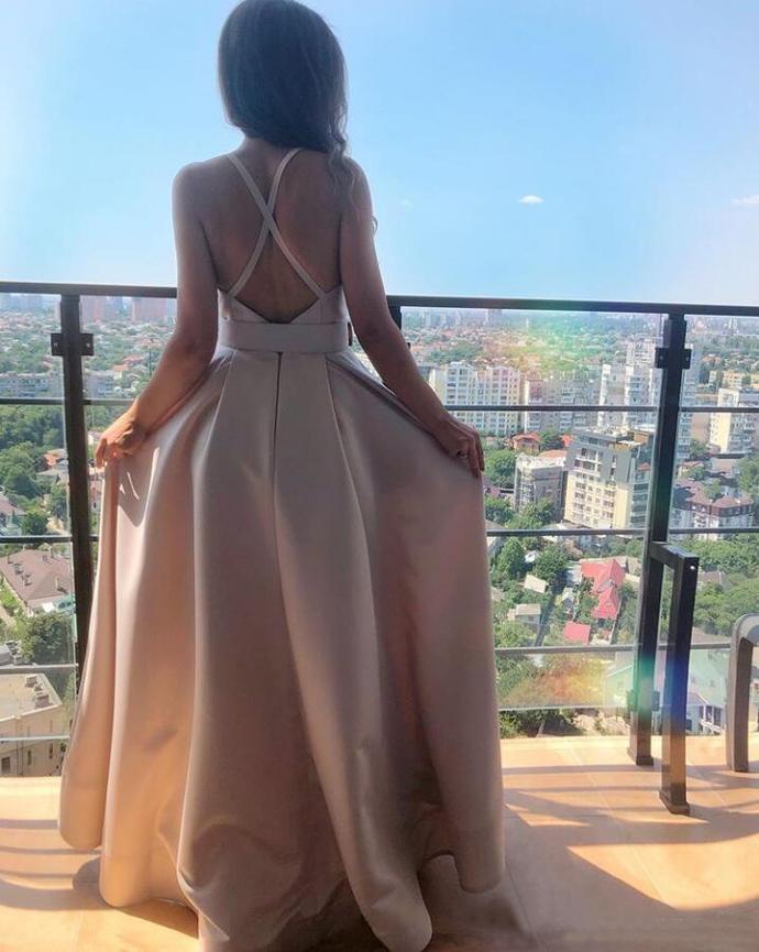 Cheap Spaghetti Strap Satin A Line Prom Dresses Criss Cross Back Floor Length