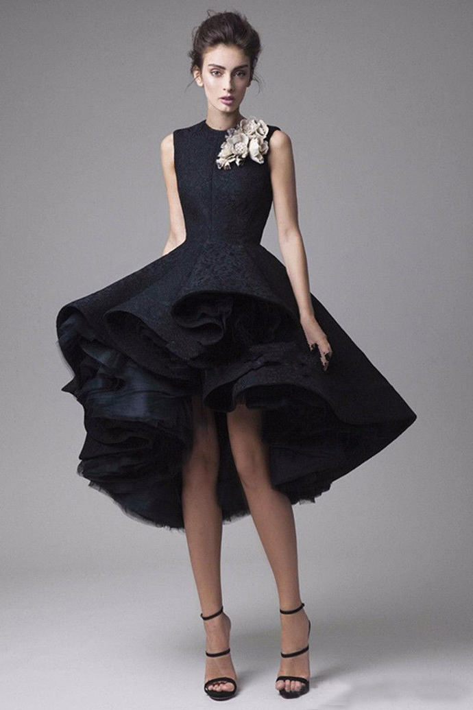 Short Prom Dresses O-Neck High Low Cap Sleeve Lace with Tulle Formal Evening