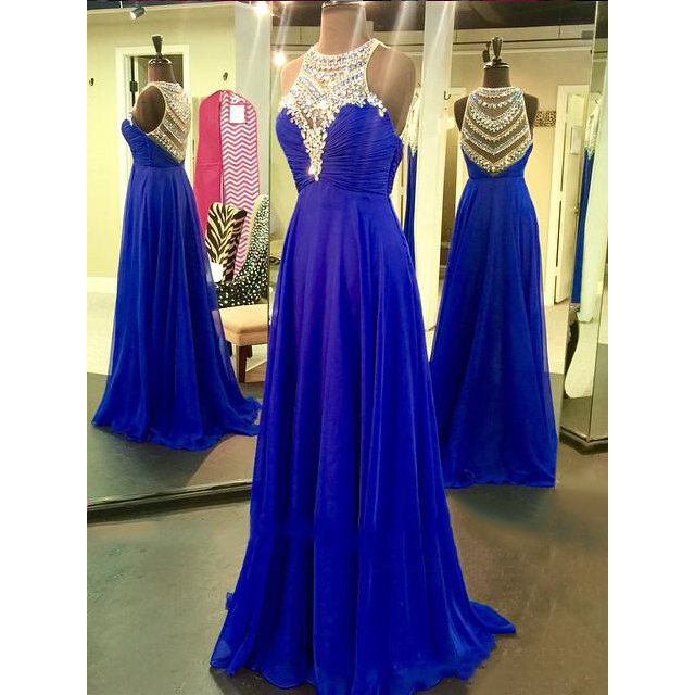 Royal Blue Prom Dresses with Sparkle Beads, Pretty Illusion Prom Dresses, High