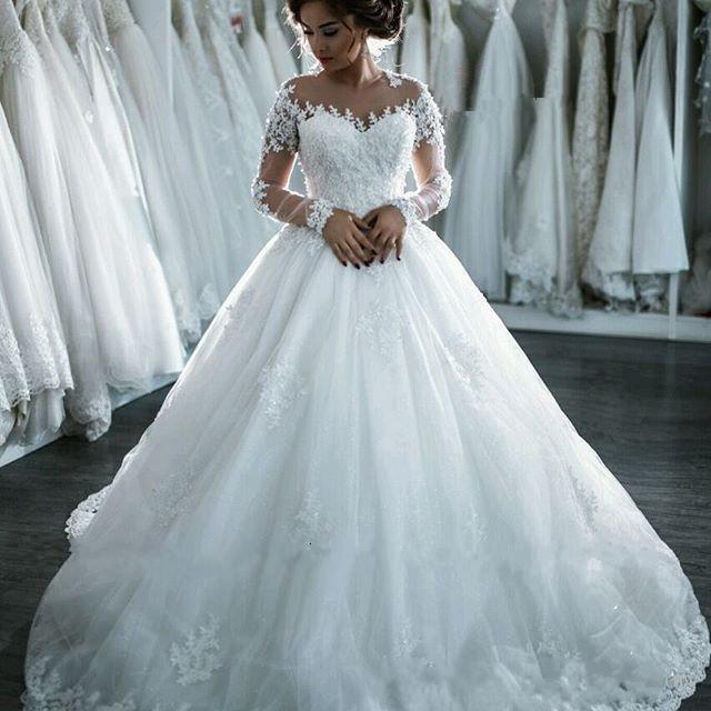 wedding dresses, Sheer Jewel-Neck wedding dress, New Hot Applique Vintage Arabic