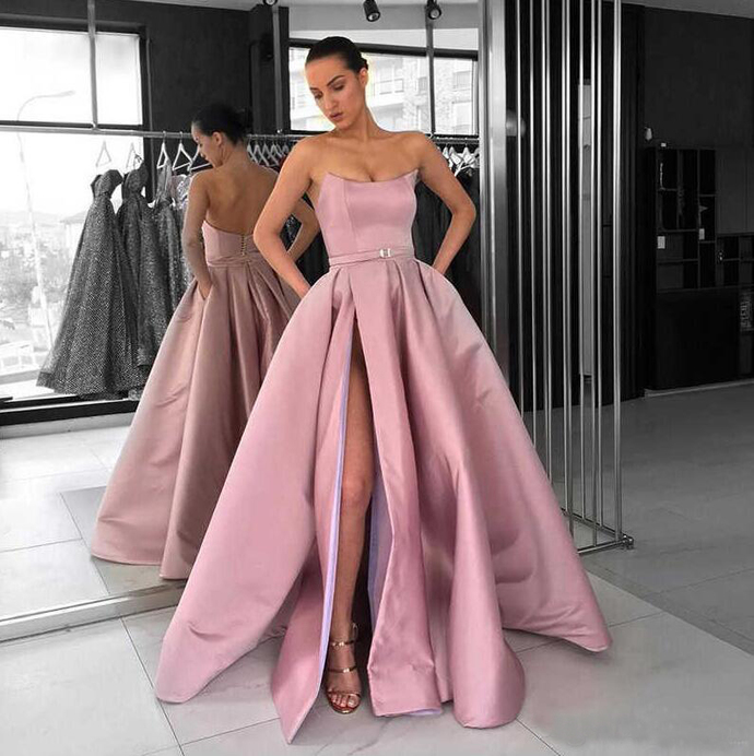 Abendkleider Saudi Arabic High Slit Pink Prom Dresses 2019 Cheap Long Prom Gowns