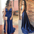 2019 Long Prom Dresses Sexy V Neck Fornt Split Backless Women Party Prom Dress
