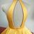Elegant Robe De Soiree Muslim Women A-Line Halter Floor Length Long Yellow
