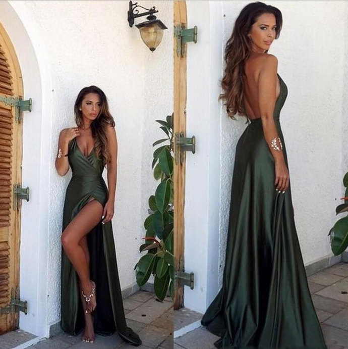 Sexy New A Line Prom Dresses Deep V Neck Sleeveless With Backless Satin Long