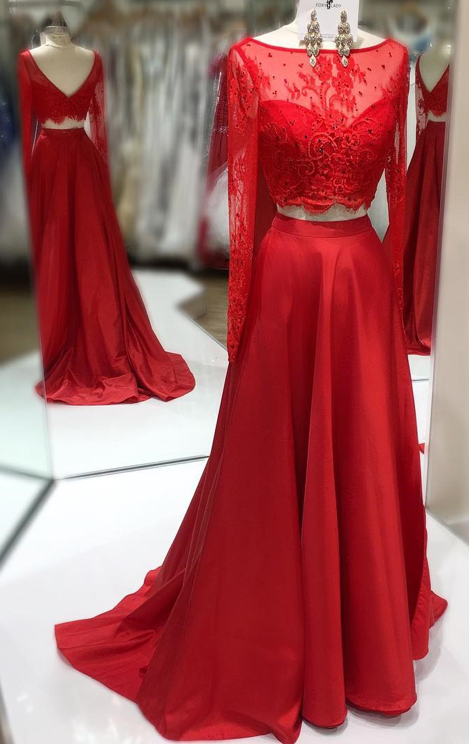 Red Lace 2 pieces long sleeves prom dresses,lace prom gowns,elegant prom
