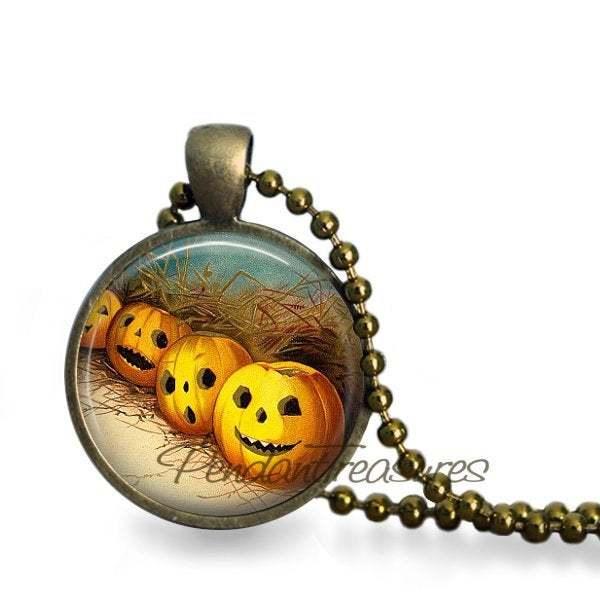Halloween Pumpkin Patch JOL Handmade Pendant Necklace or Keychain