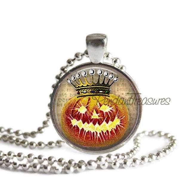 Vintage Halloween Crowned Pumpkin JOL Handmade Altered Art Pendant Necklace or