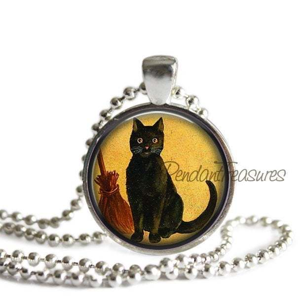Vintage Halloween Black Cat and witches BroomHandmade Altered Art Pendant