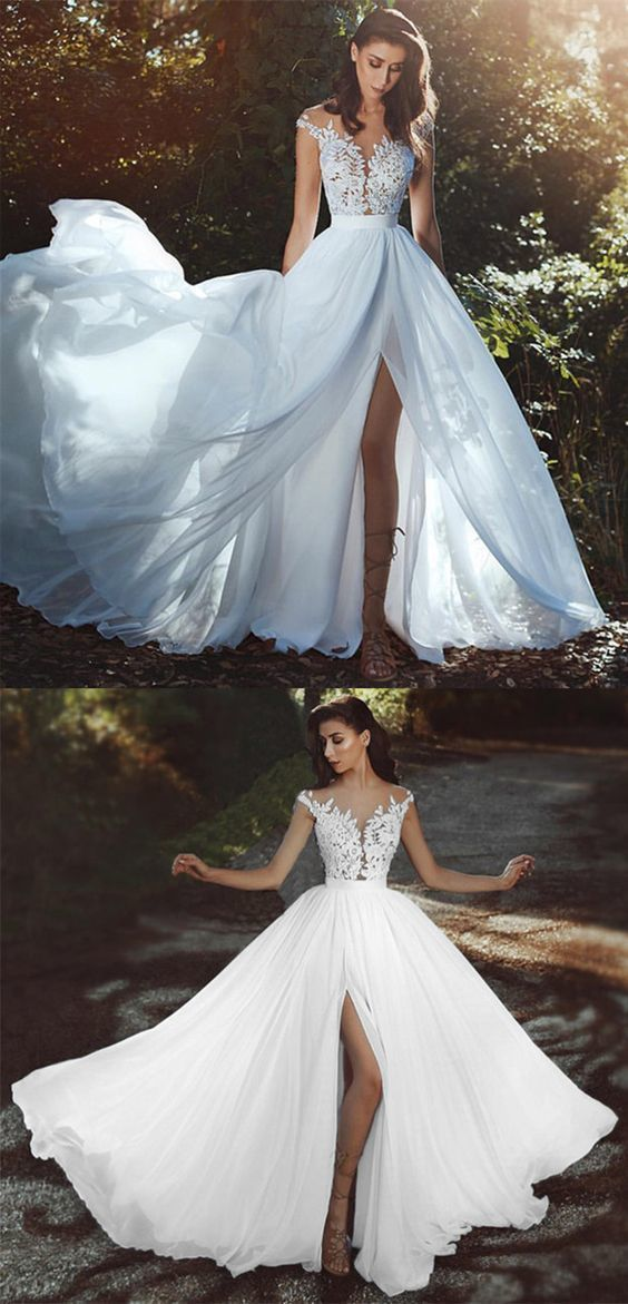 Elegant chiffon beach wedding dresses boho chic bride dress lace appliques