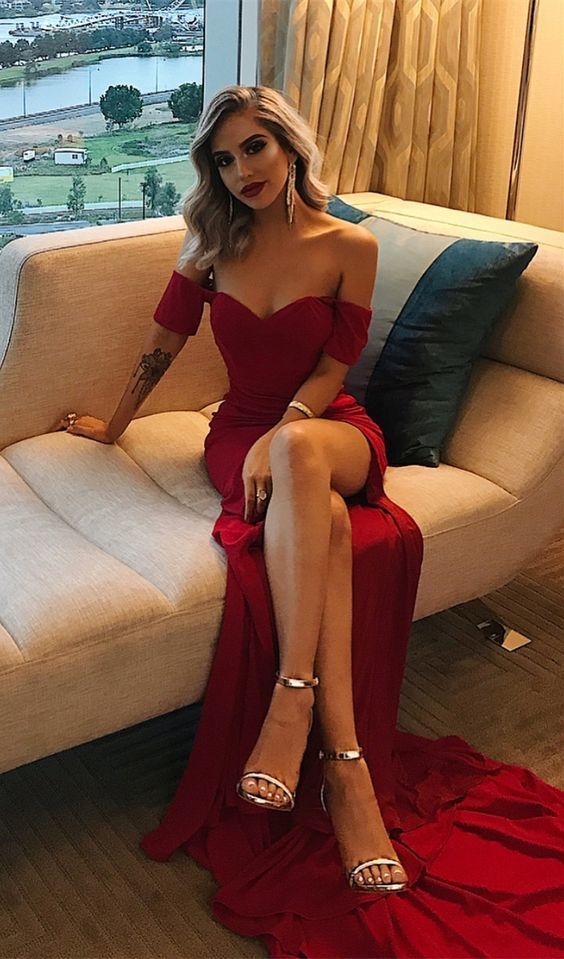 simple off the shoulder burgundy prom dresses long, sexy high leg split dark red