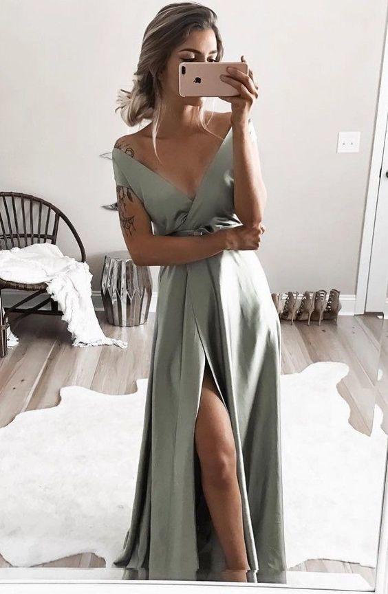 elegant off shoulder formal evening dresses, chic split prom gowns for special