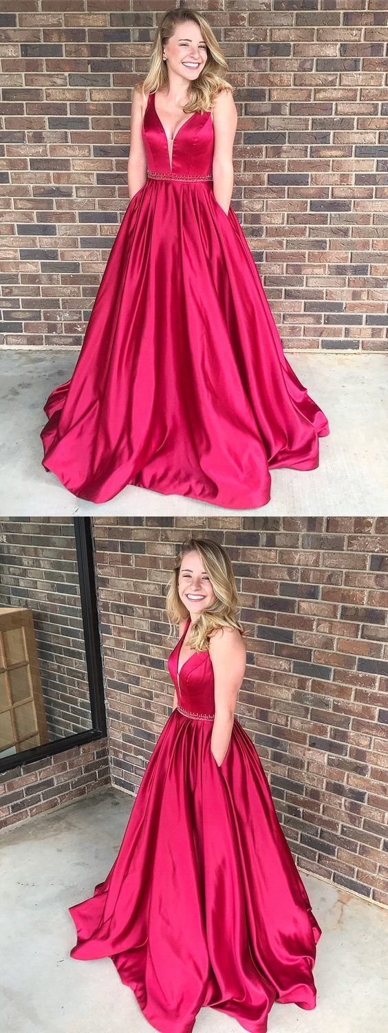 modest plunging prom party dresses , fashion burgundy evening gowns with pocket