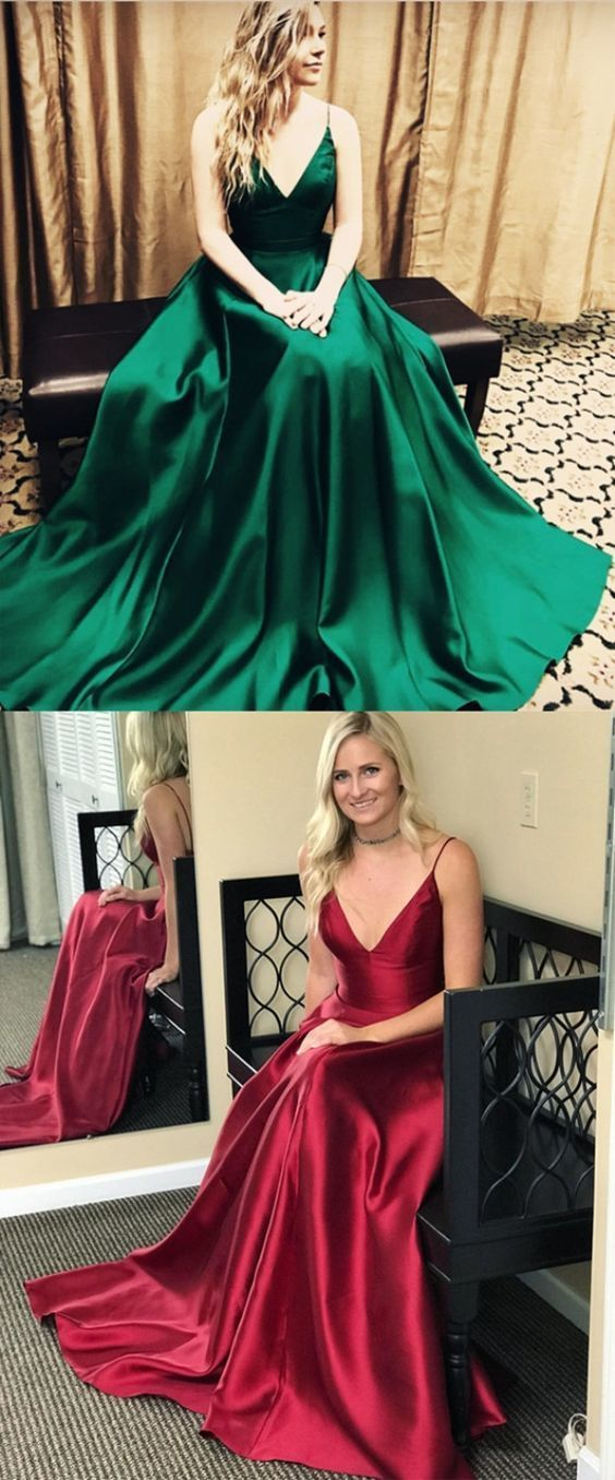 simple dark green stain long prom dresses, sexy spaghetti strap v neck prom