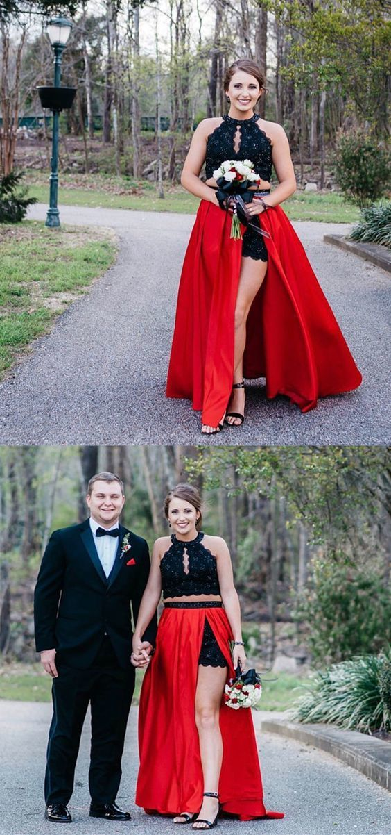 two piece black and red long prom dress, elegant prom dress with side slit,