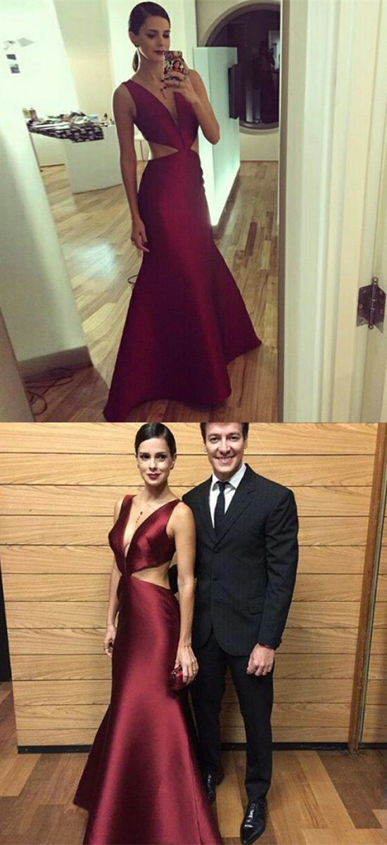 simple burgundy mermaid prom dresses, elegant cut out v neck evening gowns,