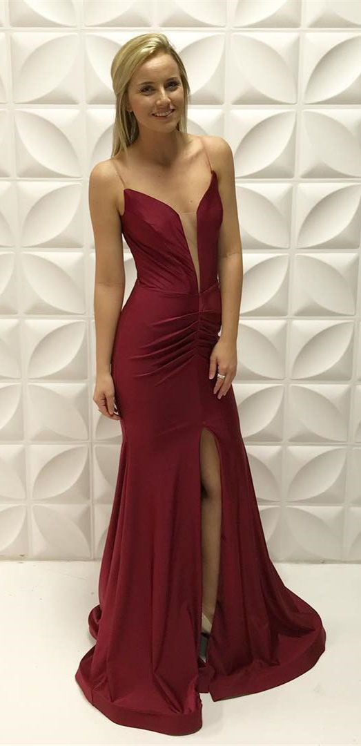 Mermaid Spaghetti Straps Dark Red Prom Dress with Ruched Split-Front, modest