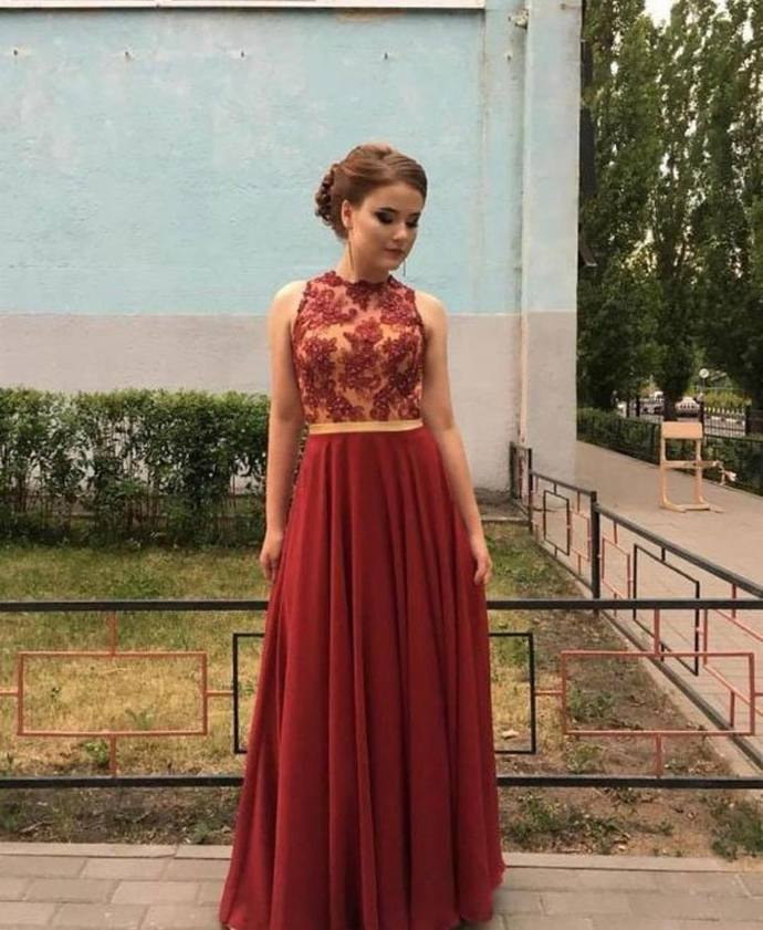 Red Prom Dress,Chiffon Wedding Dresses,O-Neck Prom Dresses,Appliques Prom Gown