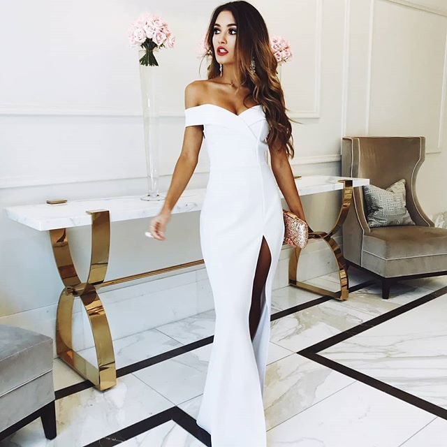 Gorgeous Off Shoulder White Side Split Prom Dress