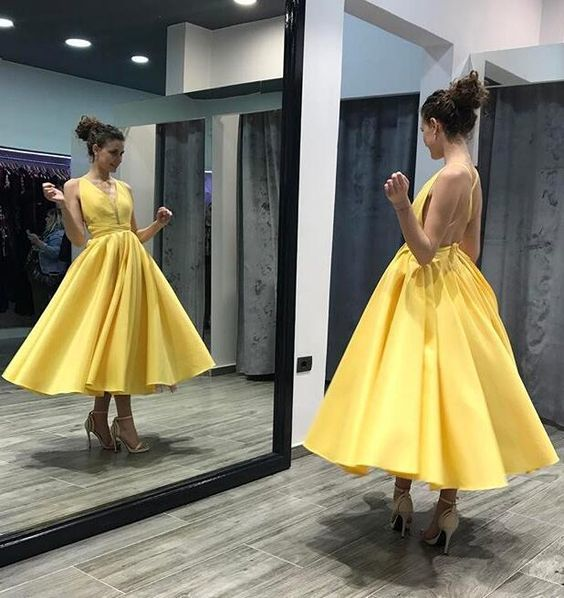 Criss Cross Yellow Ankle Length Prom Dresses