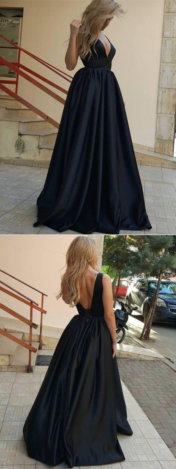 Simple black long prom dress, black evening dress